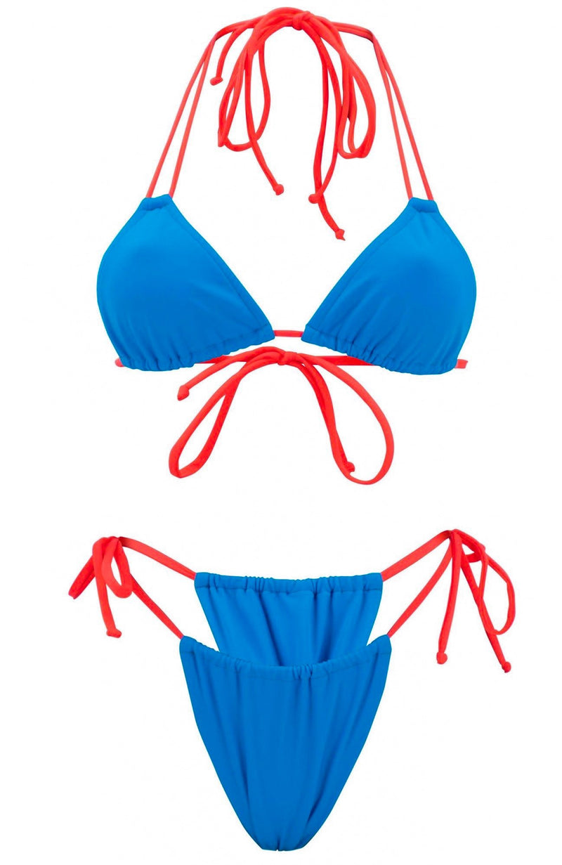 Aries in Mykonos Blue / G-Scrunch Bikini Set-Sets-Breezy Rack