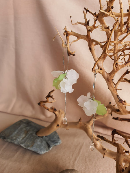 Green & White petals long drop earrings