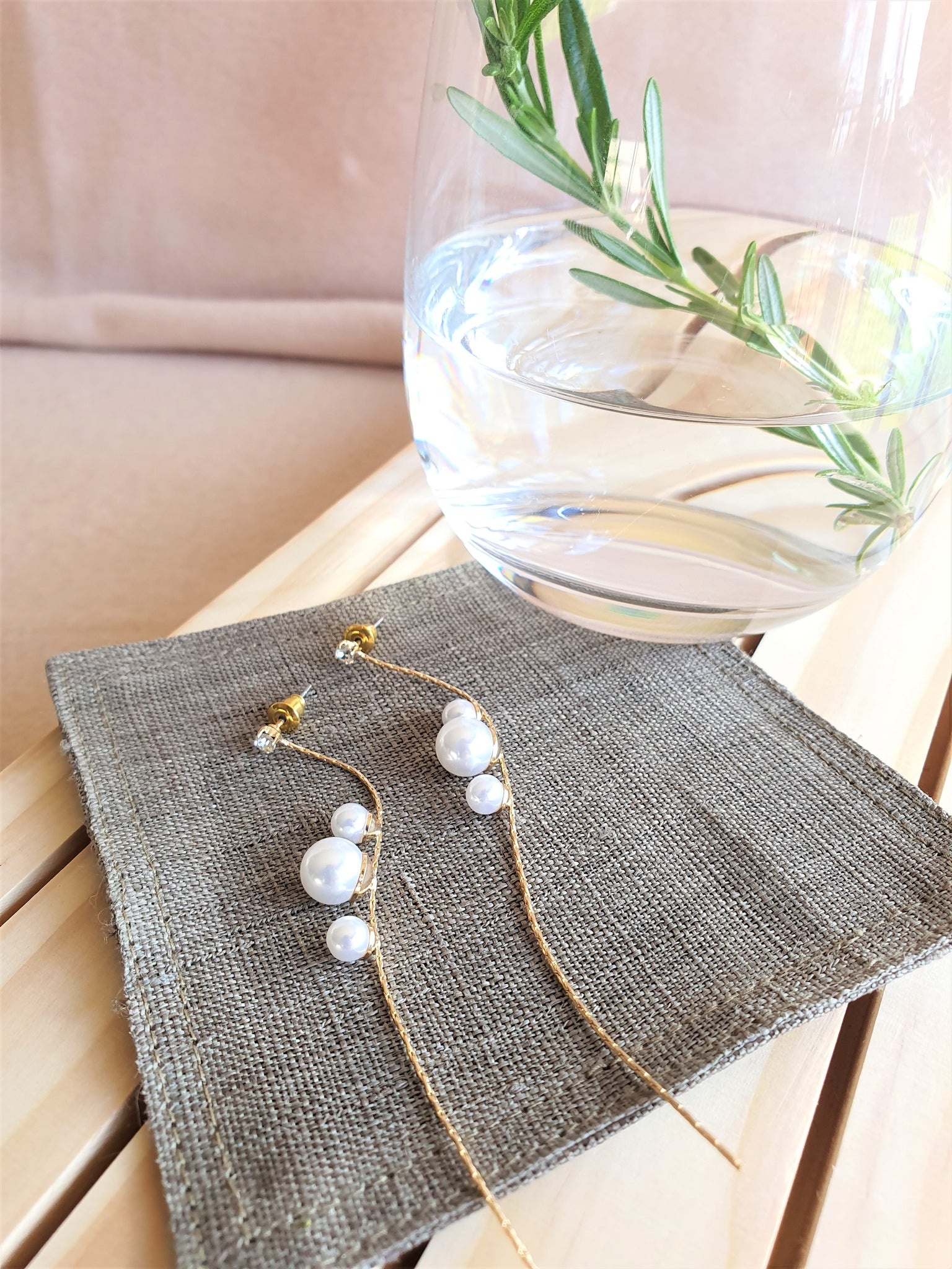Elegant pearls long dangle earrings