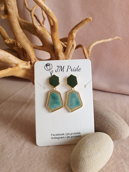 Vintage green with royal marble dangle earrings