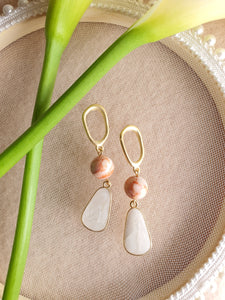 Jupitar and white marble dangle earrings