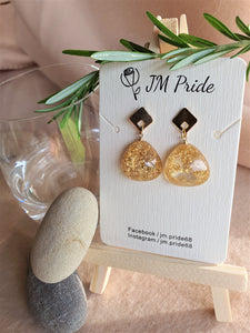 East & West fusion gold flakes resin tear drop earrings