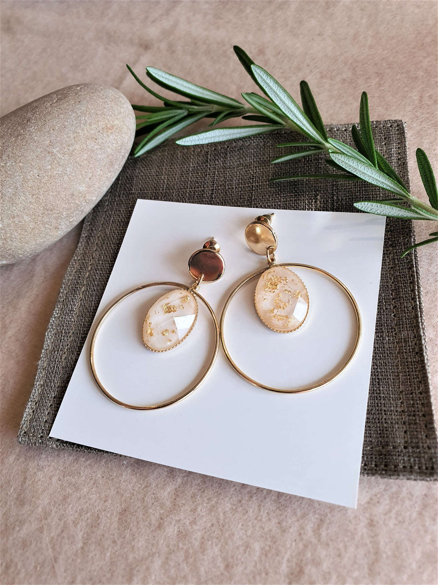 East & West fusion gold flakes resin double round drop earrings