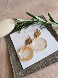 East & West fusion gold flakes resin earrings