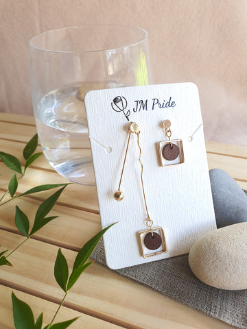 Playful vintage asymmetric dangling earrings