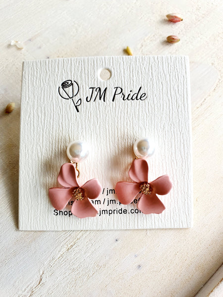 Vinca rosea flower clay drop earring - bridal white/ coral pink/ apricot orange