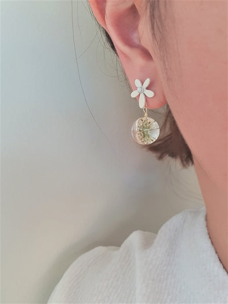 White blossom resin drop earrings