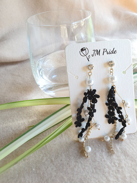Ballet dancing girl dangle earrings - black / white