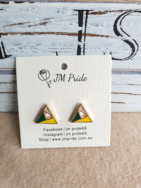 Playful geometic stud earrings - round / triangle / rectangle