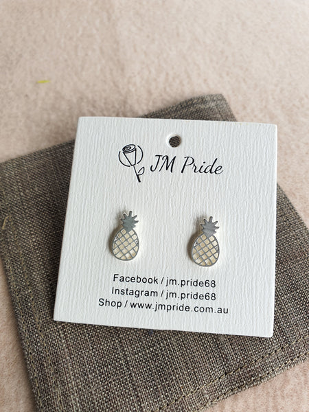 Funky pineapple stud earrings -  gold / silver
