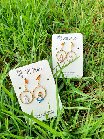Alice in the wonderland asymmetric dangle earrings - blue / pink