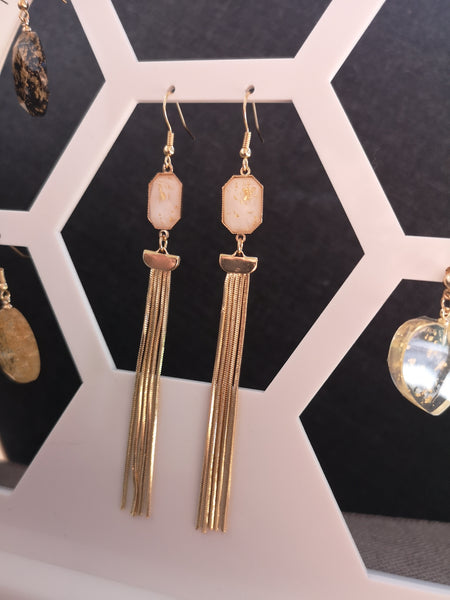 East & West fusion gold flakes resin long drop earrings