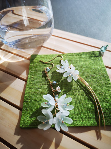 White lily bloom - Asymmetric dangle earrings