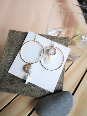 The Moon - Asymmetric dangle earrings