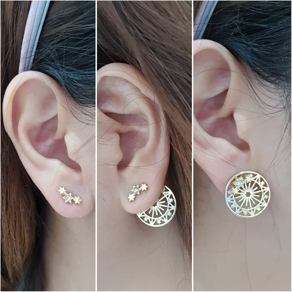 Star and universe stud earrings - 3 ways to wear