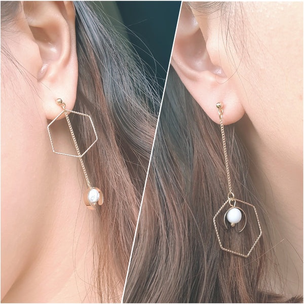 Futuristic asymmetric long drop earrings