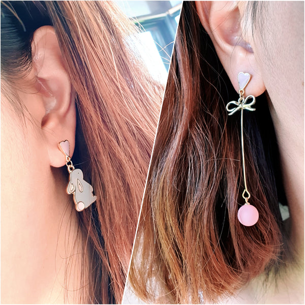 Adorable animal asymmetric dangle earrings - bunny / cat
