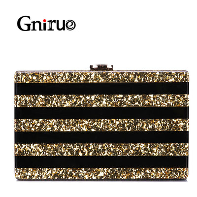 New Black Patchwork Acrylic Bags Luxury Sequins Women Messenger Bags Evening Clutch Bag Party Prom Wedding Handbag Purses Wallet