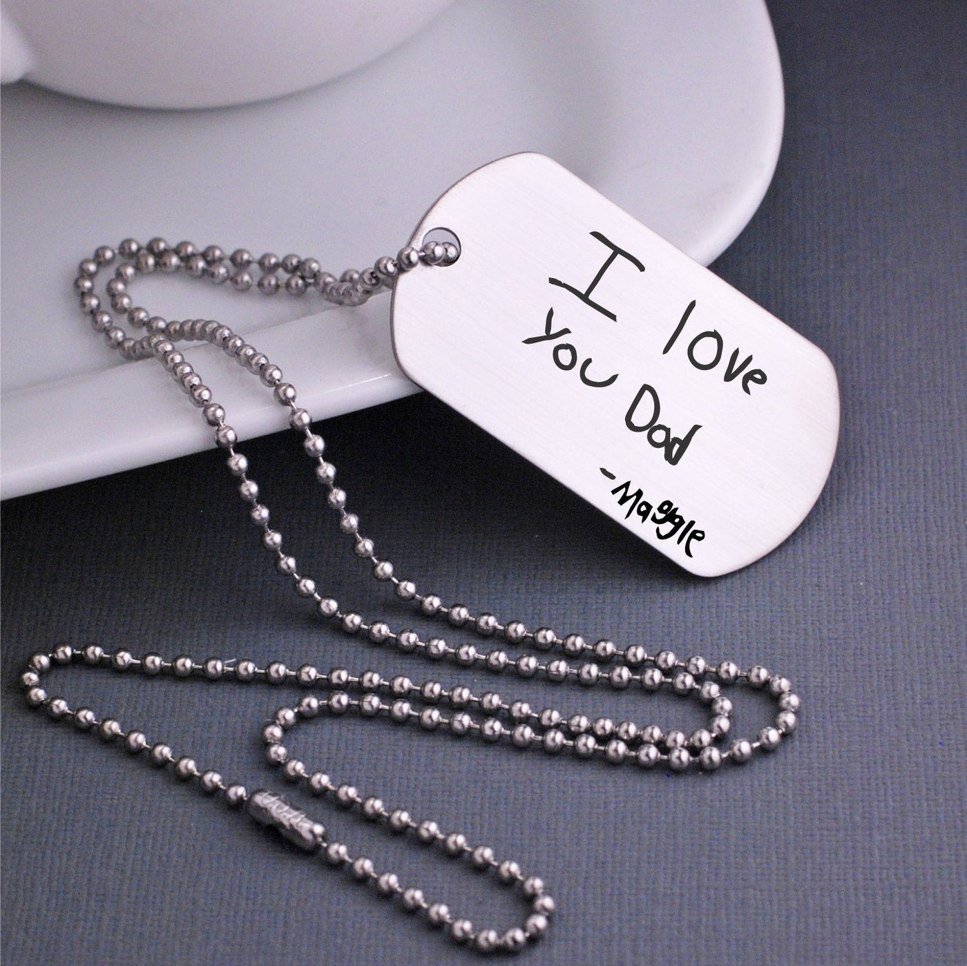 personalized dog tag necklace engraved 'i love you dad, maggie'