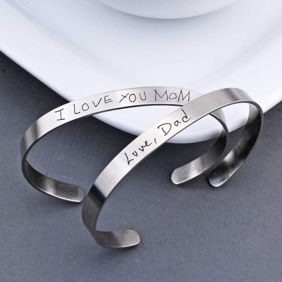 Handwriting Cuff Bracelet - steel men's or women's cuff bracelet engraved with child's handwriting