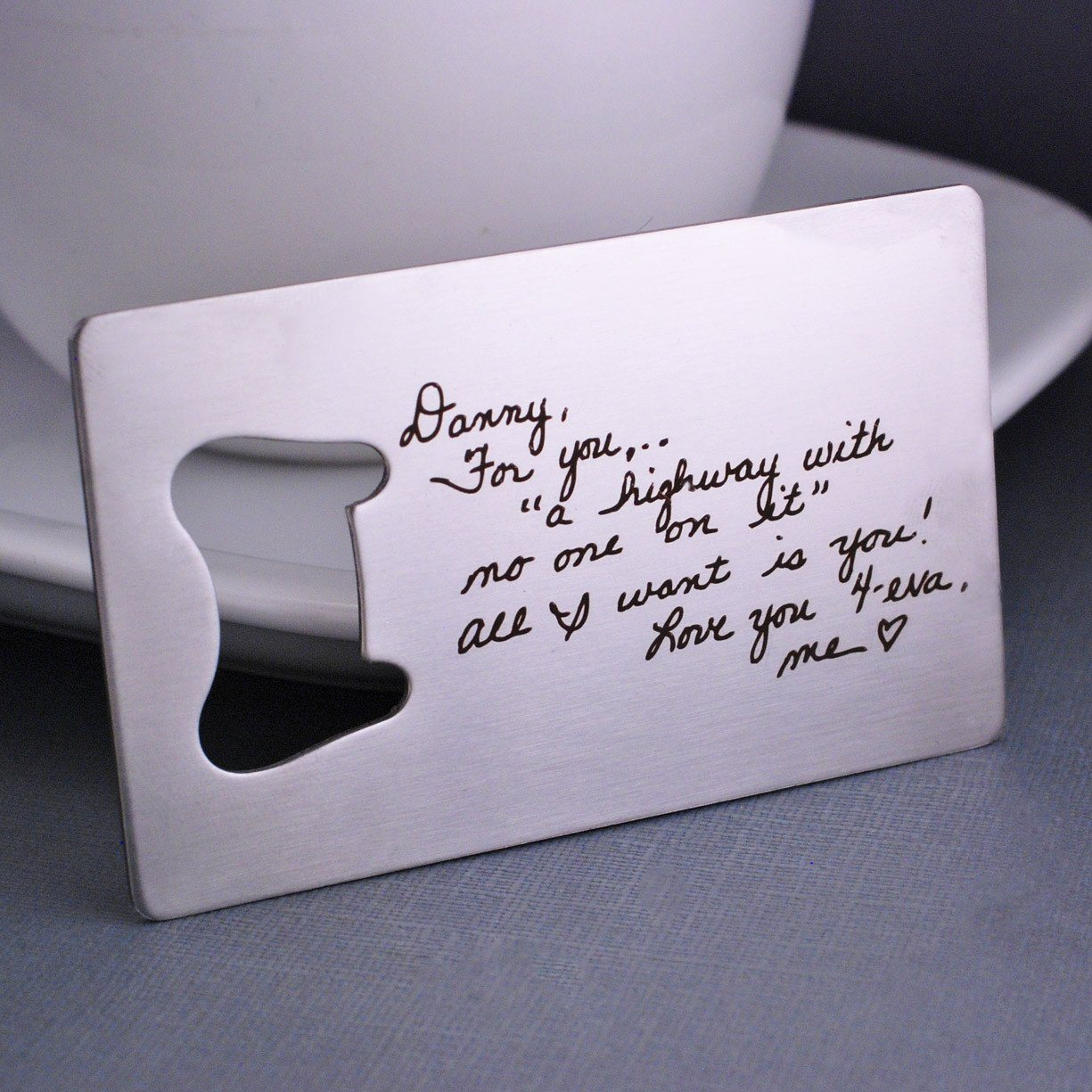 personalized bottle opener engraved with handwriting, by Love Georgie