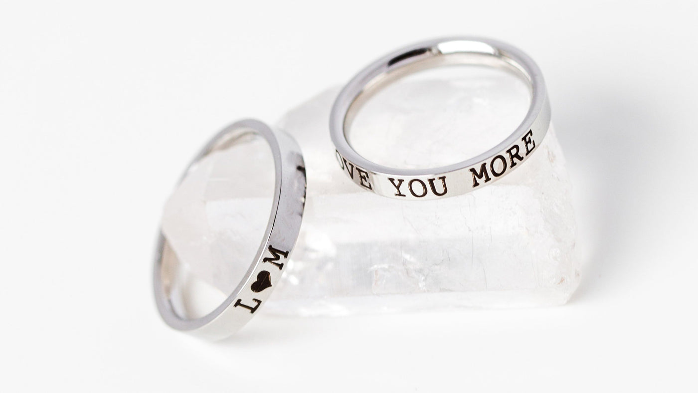 two custom engraved 3mm personalized rings for women