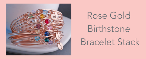rose gold birthstone bangle bracelets for mom or grandmother