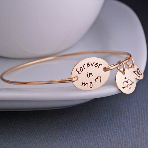 Forever in My Heart with angel charm - 14K gold memorial bracelet engraved by Love Georgie