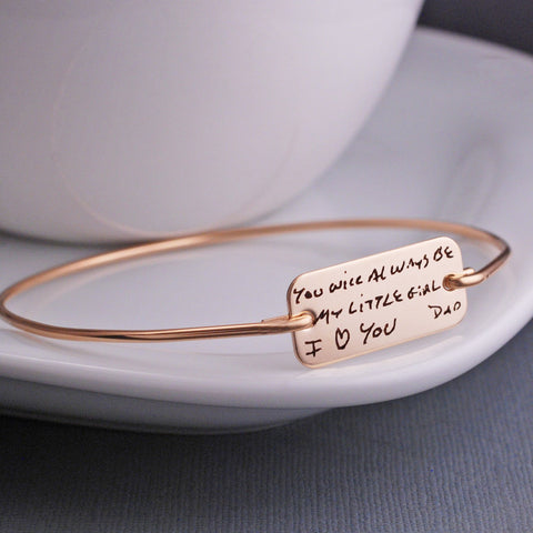 Custom Handwriting Bracelet in yellow gold