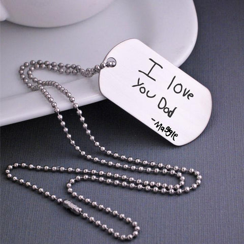 Custom engraved handwriting on dog tag necklace by love georgie