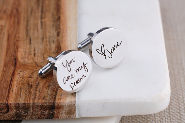 "Groom Gift - Custom Handwriting Cufflinks - Engraved with ""You are my person"""