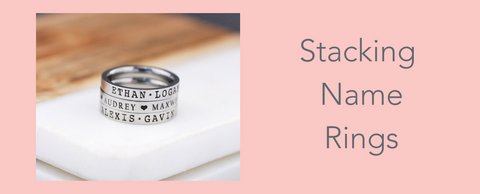 Stacking Name Rings from Love, Georgie