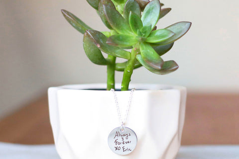 Custom Handwriting Necklace engraved stainless steel by Love Georgie