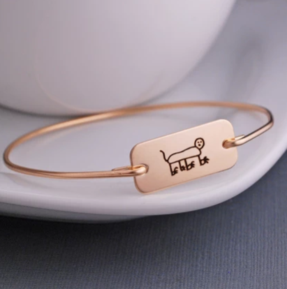 Engraved child's artwork bracelet in 14K gold