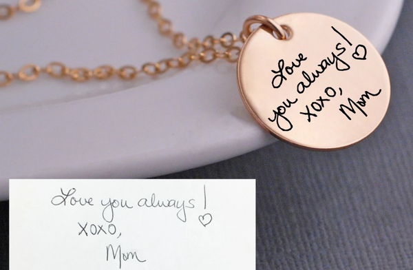 gold engraved handwriting necklace featuring message from mom