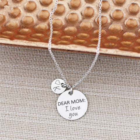 Dear Mom: I Love You engraved necklace by Love Georgie