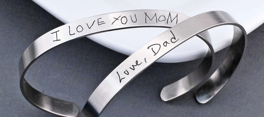 Handwriting cuff bracelet for mom