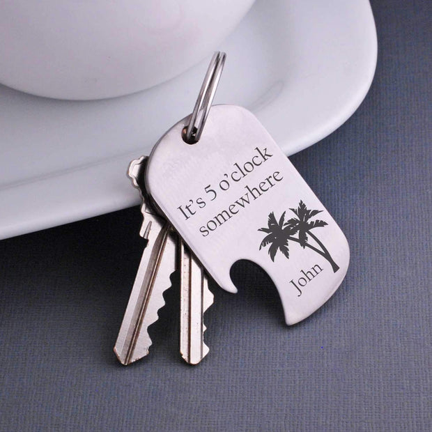 Personalized 'It's 5 o'clock Somewhere' Keychain