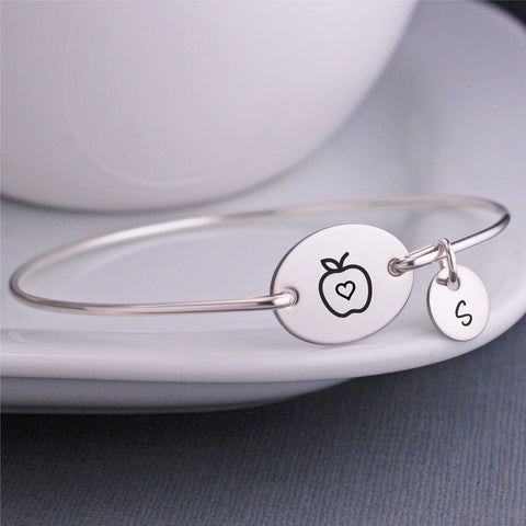 engraved Apple Bangle Bracelet - silver