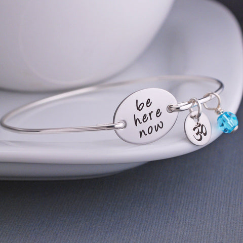 engraved Be Here Now Bracelet - silver