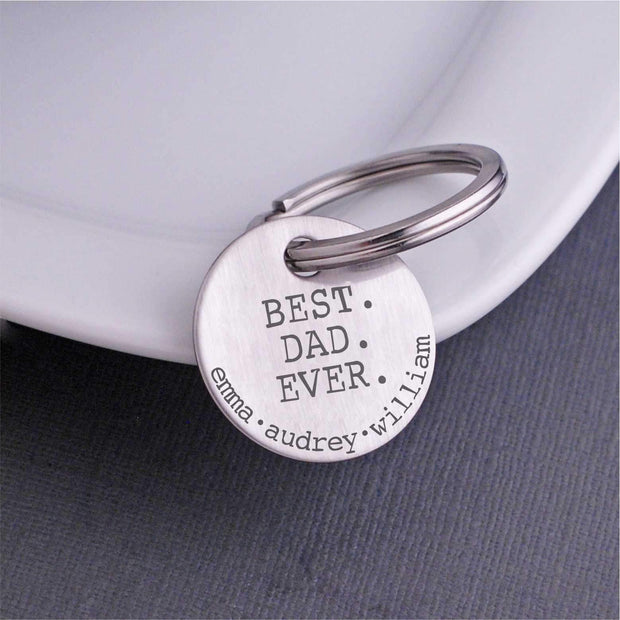Personalized Best Dad Ever Keychain