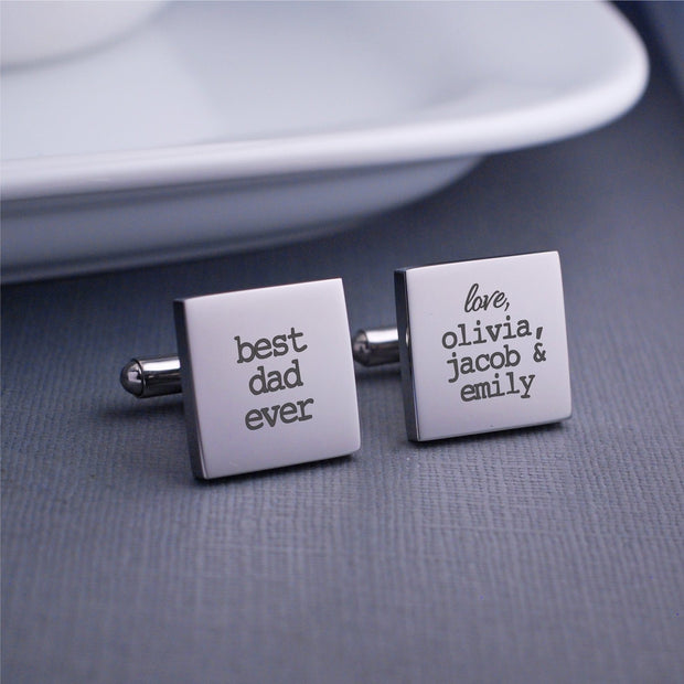 Best Dad Ever Cufflinks engraved with kids names. Square. Stainless steel. Made by Love Georgie.