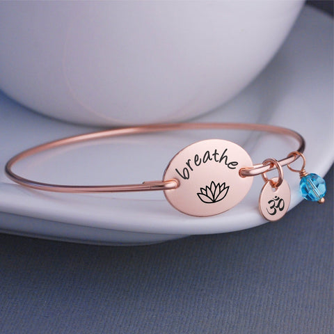 "engraved ""breathe"" with a lotus flower bracelet"