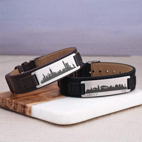 Leather Bracelet - City Skyline