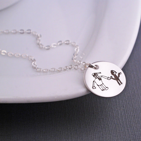 Child's Artwork - 3/4 inch Silver Necklace