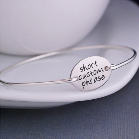 Silver 3/4 inch Oval - Shorter Words/Phrases - Design Your Own