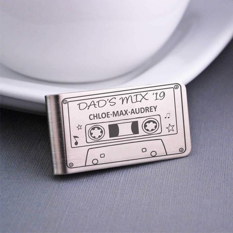Money Clip – Dad's Mixtape Cassette - engraved gift for dad personalized with kids' names