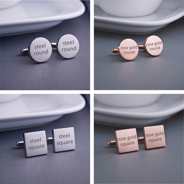Design your own custom engraved cufflinks. Round or square, stainless steel or 14k rose gold plated stainless steel cufflinks by Love Georgie.