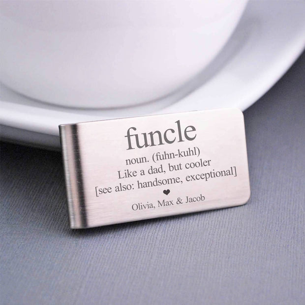 "Money Clip ""Fun + Uncle = Funcle"" - gift for uncle, personalized with kids' names"