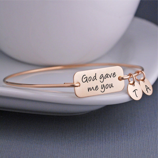 God Gave Me You Bangle Bracelet - gold